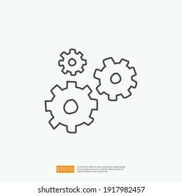 mechanical gear doodle icon for innovation idea concept. engineering related doodle sign symbol concept. stroke line vector illustration
