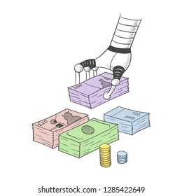 A mechanical hand folds wads of money.