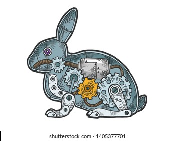 Mechanical Hare rabbit animal color sketch engraving vector illustration. Scratch board style imitation. Black and white hand drawn image.