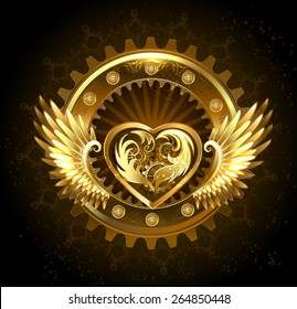 Mechanical heart with gears of gold and brass, decorated with metal wings on black background.