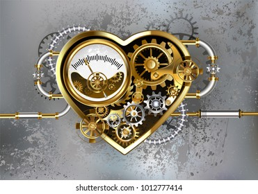Mechanical heart with manometer, steel and gold gears on gray industrial background.