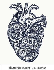 Mechanical heart tattoo. Symbol of emotions, love, feeling. Anatomic mechanic heart steampunk t-shirt design