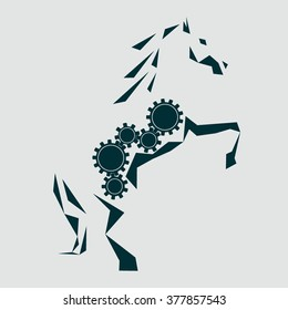 Mechanical horse. Five rotating gears inside the silhouette of the horse. A horse standing on its hind legs. Horsepower. Graphic silhouette of a horse drawn triangles. Clockwork mechanism. Vector Logo