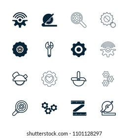 Mechanical icon. collection of 16 mechanical filled and outline icons such as gear    sign symb, wrench, circular saw, saw blade. editable mechanical icons for web and mobile.