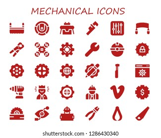 mechanical icon set. 30 filled mechanical icons. Simple modern icons about  - Saw, Robot, Wrench, Settings, Pliers, Drone, Setting, Worker, Gear, Electric toothbrush, Drill, Vimeo