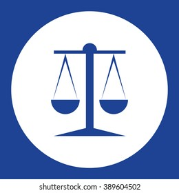 Mechanical justice scales. Vector icon blue and white