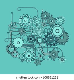 Mechanical Pattern Composition. Set of isolated the background. Steam Punk. Vector. Blue-green colors
