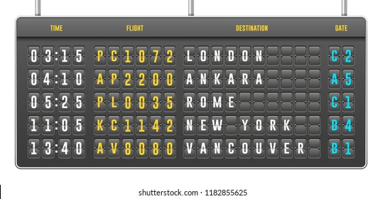 Mechanical Realistic Flip Scoreboard, Arrival Airport Board With Letters, Numbers, Time Display Board For Airport Schedule, Train Destination Timetable. Isolated On White Background. Vector EPS10