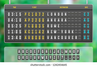 Mechanical Realistic Flip Scoreboard, Arrival Airport Board With Letters, Numbers, Time Display Board For Airport Schedule, Train Destination Timetable. Green Summer Garden Background. Vector EPS10