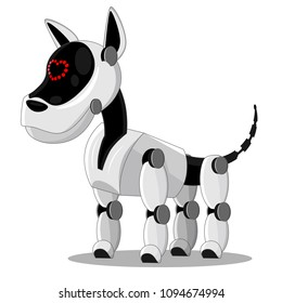 The mechanical robot dog, man's best friend. Vector illustration on the topic of high technology.