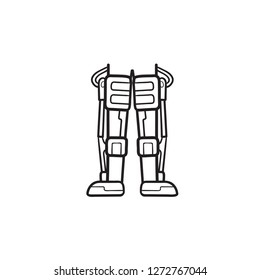 Mechanical robot legs of android hand drawn outline doodle icon. Biotechnology futuristic medicine concept. Vector sketch illustration for print, web, mobile and infographics on white background.