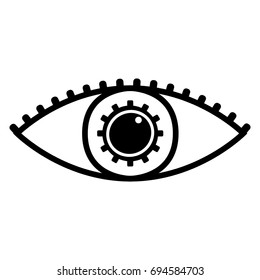 Mechanical robotic eye icon vector design black drawing on white background