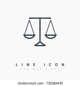 Mechanical scales balance line vector icon