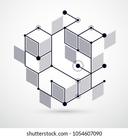 Mechanical scheme, black and white vector engineering drawing with 3D cubes and geometric elements. Engineering technological wallpaper made with honeycombs.