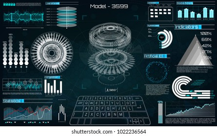 Mechanical scheme, vector illustration with circles and geometric parts of the mechanism. engine, future design, HUD, futuristic user interface. UI hud infographic interface. Mechanisms, HUD for app.