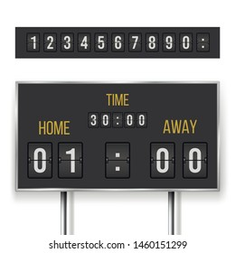 Mechanical score board, information and indicator device. Timetable equipment for time measurement. Vector realistic score board illustration