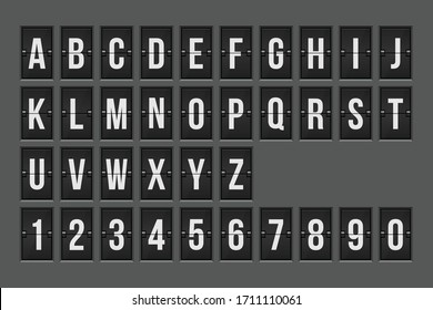 Mechanical scoreboard alphabet and numbers vector illustration