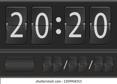 Mechanical scoreboard digits or flip clock template. Vector illustration.