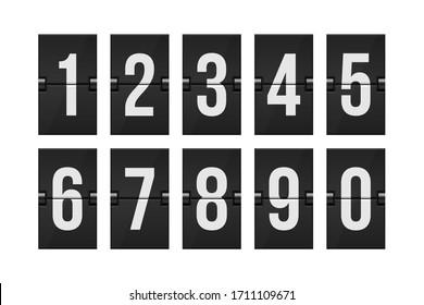 Mechanical scoreboard numbers vector illustration
