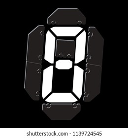 Mechanical scoreboard vector template with digital numbers; White digit on black board, isolated