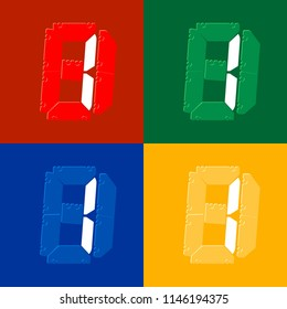 Mechanical scoreboard vector template with digital numbers; White digit 1 on red,  green, blue, yellow board