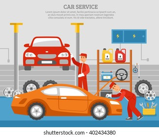 Mechanical services of car with repair of vehicles shelves with accumulator steering wheel machine oil vector illustration