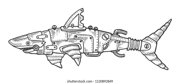 Mechanical shark animal engraving vector illustration. Scratch board style imitation. Black and white hand drawn image.
