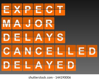 Mechanical Timetable Style Airport Sign With Delayed, Cancelled etc