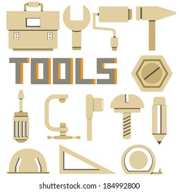 mechanical tools icons set