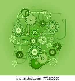 Mechanical Vector Pattern of cogs and gears. Isolated on gradient green background. Steam Punk