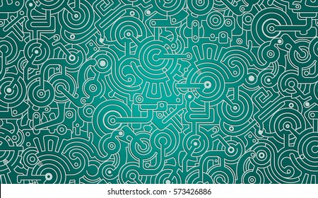 Mechanical Vector Seamless Background Texture Pattern Isolated on Gradient Background. Steam punk. Brown and golden colors. 3D effect. Green.