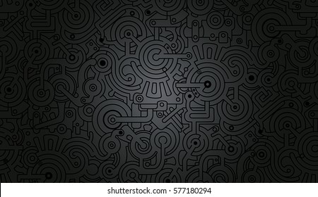 Mechanical Vector Seamless Background Texture Pattern Isolated on Gradient Background. Steam punk. Black and gray colors. 3D effect. Relief