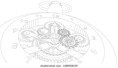 mechanical vintage clock 3d illustration