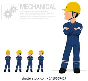 Mechanical worker in mechanic jumpsuit are posing folded arm on transparent background.