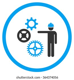 Mechanics Presentation vector icon. Style is bicolor flat symbol, blue and gray colors, rounded angles, white background.