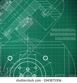 Mechanics. Technical design. Engineering style. Mechanical. Cover, flyer, banner. Corporate Identity. Light green background. Grid