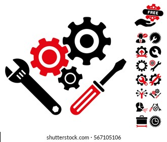 Mechanics Tools pictograph with bonus service clip art. Vector illustration style is flat iconic intensive red and black symbols on white background.