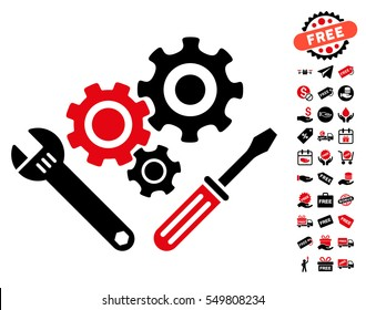 Mechanics Tools pictograph with free bonus pictograms. Vector illustration style is flat iconic symbols, intensive red and black colors, white background.
