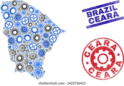 Mechanics vector Ceara state map mosaic and seals. Abstract Ceara state map is composed of gradiented scattered gearwheels. Engineering territory plan in gray and blue colors,