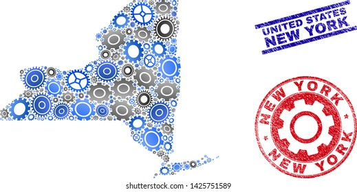 Mechanics vector New York State map collage and seals. Abstract New York State map is composed from gradient scattered gearwheels. Engineering territorial plan in gray and blue colors,