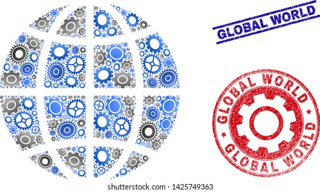 Mechanics vector planet globe collage and seals. Abstract planet globe is done with gradient scattered gearwheels. Engineering territory scheme in gray and blue colors,