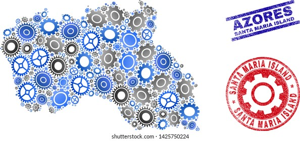 Mechanics vector Santa Maria Island map mosaic and seals. Abstract Santa Maria Island map is done from gradient scattered gearwheels. Engineering territory scheme in gray and blue colors,
