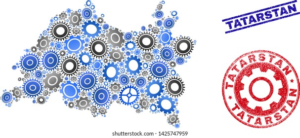 Mechanics vector Tatarstan map collage and stamps. Abstract Tatarstan map is organized from gradient random gearwheels. Engineering territory plan in gray and blue colors,