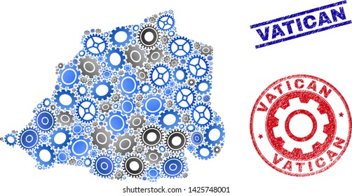 Mechanics vector Vatican map composition and stamps. Abstract Vatican map is designed with gradiented randomized gearwheels. Engineering geographic scheme in gray and blue colors,