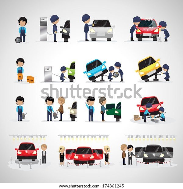 Mechanics And Workers In Different Situations Set - Isolated On White Background - Vector Illustration, Graphic Design Editable For Your Design. Promotion, Car Show And Trade On Fair