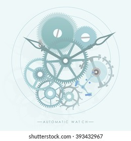 The mechanism of automatic watch lay on the blue retro background.(EPS10 art vector)