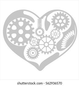 Mechanism Heart & Cog system illustration (vector)