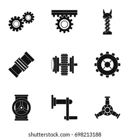Mechanism icon set. Simple style set of 9 mechanism vector icons for web isolated on white background