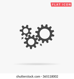 Mechanism Icon Vector. Simple flat symbol. Perfect Black pictogram illustration on white background.