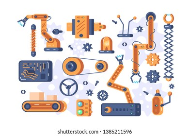 Mechanism parts set vector illustration. Manufacturing automation technology flat style concept. Industrial tools mechanical robot arms machine hydraulic equipment. Factory assembly conveyor